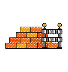 Construction wall brick and barricade warning vector