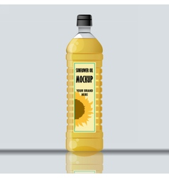 Digital yellow sunflower oil plastic bottle vector image vector image