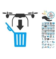 Drone Drop Trash Icon With 2017 Year Bonus vector image
