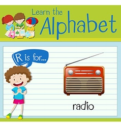 Flashcard letter R is for radio vector image vector image