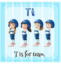 Flashcard letter t is for team vector