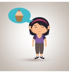 girl cartoon cup cake vector image