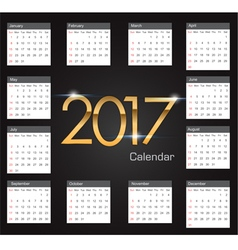 Gold 2017 luxury editable Calendar vector image vector image