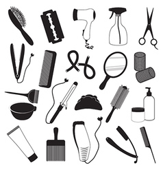 Hairdressing And Barber Shop Icons Set vector image vector image