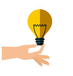 Hand with bulb light vector