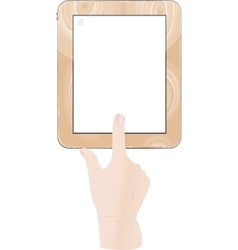 Hands holding and point on digital tablet vector image