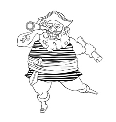Happy tattooed pirate with a prosthetic weapons vector