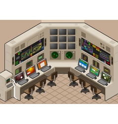 Isometric control center with mega screen vector