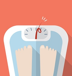 Overweight bare feet on weight scale vector image