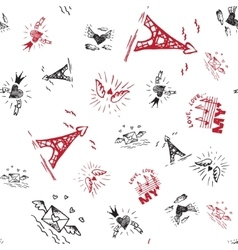 Retro hand-drawn sketches seamless background with vector image