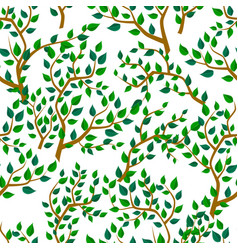 Seamless background with tree leafs vector