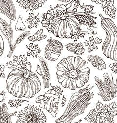 Seamless sketch thanksgiving pattern vector