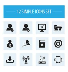 Set of 12 editable web icons includes symbols vector