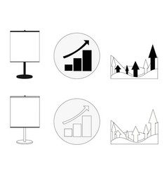 Set of graphs showing growth business in black vector