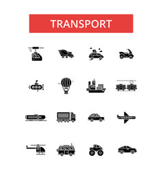 transport thin line icons linear vector image