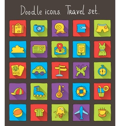 Travel doodle icons vector