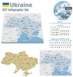 Ukraine maps with markers vector image vector image