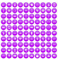 100 public transport icons set purple vector