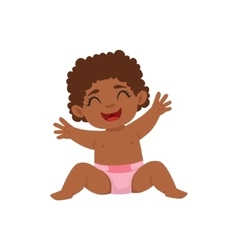 Black infant girl happy sitting in diaper part of vector