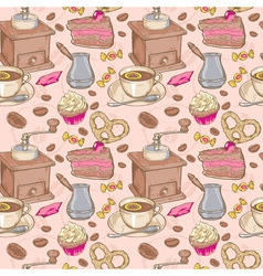 Sweet coffee and candies seamless pattern vector