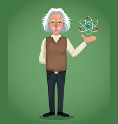 Character scientist physical and atom green vector