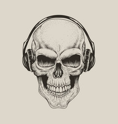 Skull in headphones listen a music vector