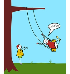 Kids swinging in the garden vector