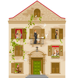 Retro stone house with people in windows vector
