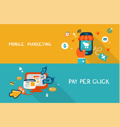 Mobile marketing and pay per click vector