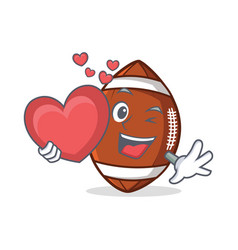 american football character cartoon with heart vector image