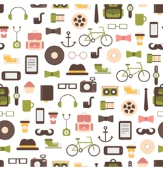 Seamless pattern of hipster colorful style vector
