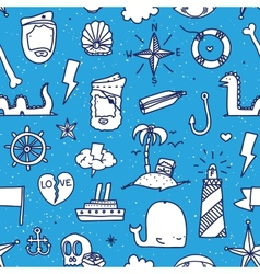 Pirate tattoo seamless pattern vector
