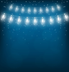 White christmas lights on blue vector