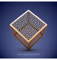 Abstract wireframe cube vector