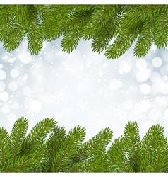 Christmas background with snow and branches vector