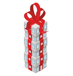 Gift building with red bow office building vector