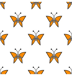 Pattern with red butterflie vector