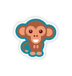 Paper sticker on white background little monkey vector