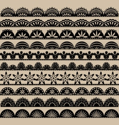 Black lace border set vector