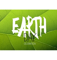 Happy earth day poster green leaf texture vector