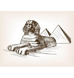 Egypt sphinx pyramid sketch vector
