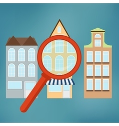 Real-estate concept with magnifying glass vector