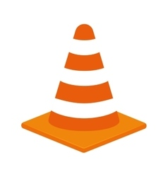Striped cone icon under construction design vector