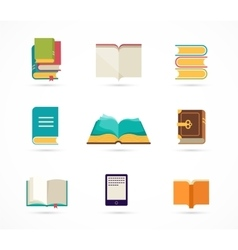 Collection of books icons vector