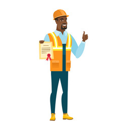 African-american builder holding a certificate vector