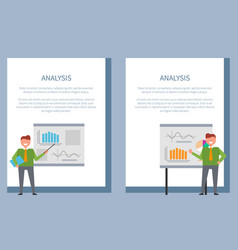analysis poster with businessmen standing at board vector image vector image
