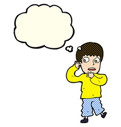 Cartoon frightened boy with thought bubble vector