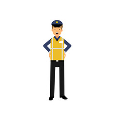 cartoon officer of traffic police standing with vector image vector image