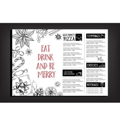 Christmas party invitation restaurant food flyer vector