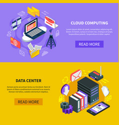 Cloud computing isometric banners vector